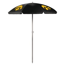 IOWA HAWKEYES – 5.5 FT. PORTABLE BEACH UMBRELLA, (BLACK)