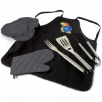 KANSAS JAYHAWKS – BBQ APRON TOTE PRO GRILL SET, (BLACK WITH GRAY ACCENTS)