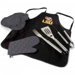 LSU TIGERS – BBQ APRON TOTE PRO GRILL SET, (BLACK WITH GRAY ACCENTS)