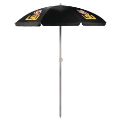 LSU TIGERS – 5.5 FT. PORTABLE BEACH UMBRELLA, (BLACK)