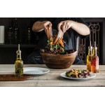 FABIO VIVIANI MESCOLARE LARGE SALAD BOWL WITH INTEGRATED SERVING/TOSSING TOOLS, (ACACIA WOOD)