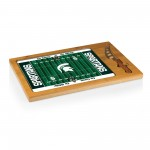MICHIGAN STATE SPARTANS – ICON GLASS TOP CUTTING BOARD & KNIFE SET, (RUBBERWOOD & BAMBOO)