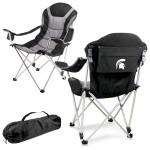 MICHIGAN STATE SPARTANS – RECLINING CAMP CHAIR, (BLACK WITH GRAY ACCENTS)