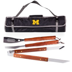 MICHIGAN WOLVERINES – 3-PIECE BBQ TOTE & GRILL SET, (BLACK WITH GRAY ACCENTS)