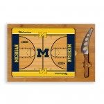 MICHIGAN WOLVERINES – ICON GLASS TOP CUTTING BOARD & KNIFE SET, (RUBBERWOOD & BAMBOO)