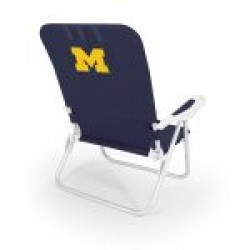 MICHIGAN WOLVERINES – RECLINING BEACH BACKPACK CHAIR, (NAVY BLUE)
