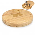 MICHIGAN WOLVERINES – CIRCO CHEESE CUTTING BOARD & TOOLS SET, (RUBBERWOOD)