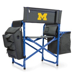 MICHIGAN WOLVERINES – FUSION BACKPACK CHAIR WITH COOLER, (DARK GRAY WITH BLUE ACCENTS)