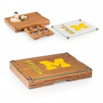 MICHIGAN WOLVERINES – CONCERTO GLASS TOP CHEESE CUTTING BOARD & TOOLS SET, (BAMBOO)