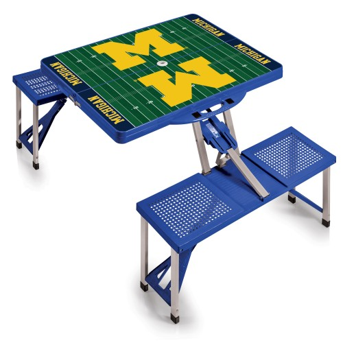 MICHIGAN WOLVERINES – PICNIC TABLE PORTABLE FOLDING TABLE WITH SEATS