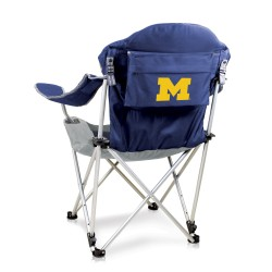MICHIGAN WOLVERINES – RECLINING CAMP CHAIR, (NAVY BLUE WITH GRAY ACCENTS)