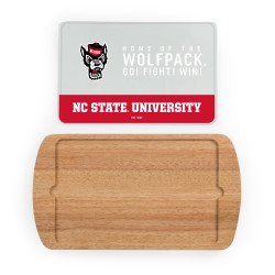 NC STATE WOLFPACK – BILLBOARD GLASS TOP SERVING TRAY, (RUBBERWOOD)