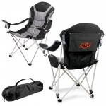 OKLAHOMA STATE COWBOYS – RECLINING CAMP CHAIR, (BLACK WITH GRAY ACCENTS)