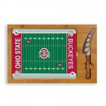 OHIO STATE BUCKEYES – ICON GLASS TOP CUTTING BOARD & KNIFE SET, (RUBBERWOOD & BAMBOO)
