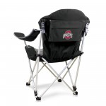 OHIO STATE BUCKEYES – RECLINING CAMP CHAIR, (BLACK WITH GRAY ACCENTS)