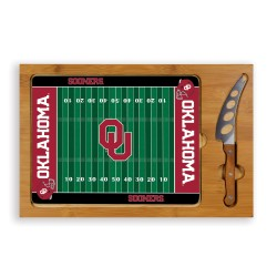 OKLAHOMA SOONERS – ICON GLASS TOP CUTTING BOARD & KNIFE SET, (RUBBERWOOD & BAMBOO)