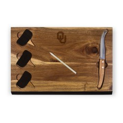 OKLAHOMA SOONERS – DELIO ACACIA CHEESE CUTTING BOARD & TOOLS SET, (ACACIA WOOD)