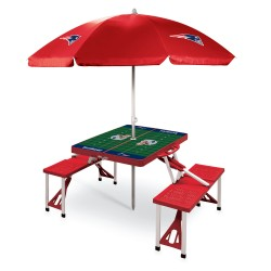 NEW ENGLAND PATRIOTS – PICNIC TABLE PORTABLE FOLDING TABLE WITH SEATS AND UMBRELLA