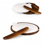 FABIO VIVIANI MARGHERITA PIZZA SERVING TRAY & CUTTER WITH PIZZA STONE, (ACACIA WOOD)