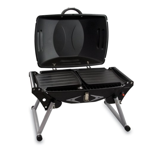 PORTAGRILLO PORTABLE PROPANE BBQ GRILL, (BLACK WITH GRAY ACCENTS)