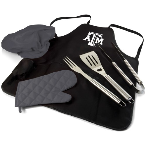 TEXAS A&M AGGIES – BBQ APRON TOTE PRO GRILL SET, (BLACK WITH GRAY ACCENTS)