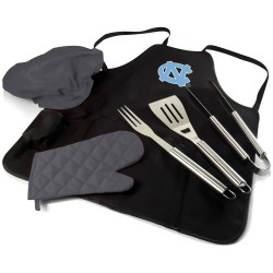 NORTH CAROLINA TAR HEELS – BBQ APRON TOTE PRO GRILL SET, (BLACK WITH GRAY ACCENTS)