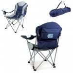 NORTH CAROLINA TAR HEELS – RECLINING CAMP CHAIR, (NAVY BLUE WITH GRAY ACCENTS)