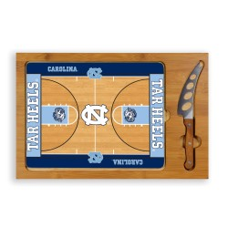 NORTH CAROLINA TAR HEELS – ICON GLASS TOP CUTTING BOARD & KNIFE SET, (RUBBERWOOD & BAMBOO)