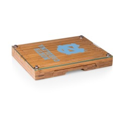NORTH CAROLINA TAR HEELS – CONCERTO GLASS TOP CHEESE CUTTING BOARD & TOOLS SET, (BAMBOO)