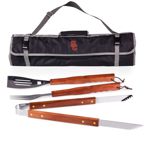 USC TROJANS – 3-PIECE BBQ TOTE & GRILL SET, (BLACK WITH GRAY ACCENTS)