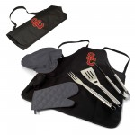 USC TROJANS – BBQ APRON TOTE PRO GRILL SET, (BLACK WITH GRAY ACCENTS)