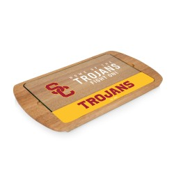 USC TROJANS – BILLBOARD GLASS TOP SERVING TRAY, (RUBBERWOOD)