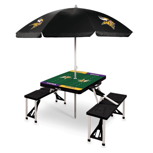 MINNESOTA VIKINGS – PICNIC TABLE PORTABLE FOLDING TABLE WITH SEATS AND UMBRELLA